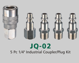 "5 Pc 1/4"" Industrial Coupler/Plug Kit (JQ-02)"