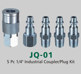 "5 Pc 1/4"" Industrial Coupler/Plug Kit (JQ-01)"