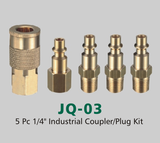 "5 Pc 1/4"" Industrial Coupler/Plug Kit (JQ-03)"