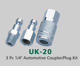 "3 Pc 1/4"" Automotive Coupler/Plug Kit (UK-20("