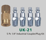 "5 Pc 1/4"" Industrial Coupler/Plug Kit (UK-21)"