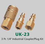 "3 Pc 1/4"" Industrial Coupler/Plug Kit (UK-23)"